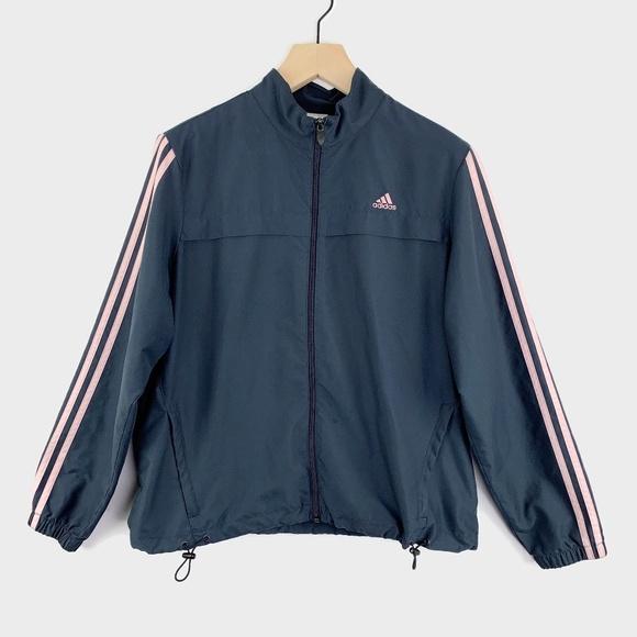 adidas Jackets & Blazers - Adidas Vintage Jacket 3 Stripes Gray Pink XL